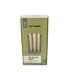 "Sky High Natural Hemp Pre-Rolled Cones - 1 1/4"" (30 Pack)"